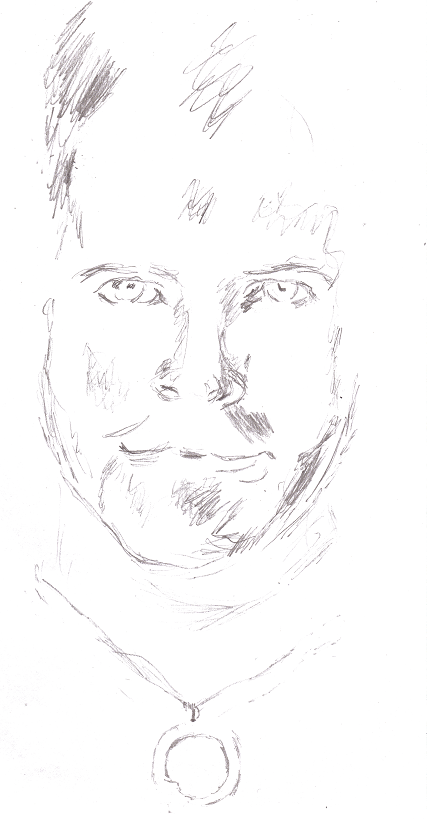 pencil drawing of Josh Gates from Destination Truth